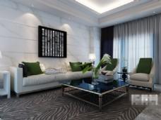 现代时尚客厅组合沙发模型素材
