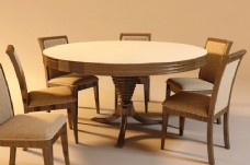 经典圆桌餐桌椅组合模型