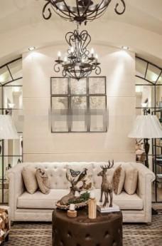 时尚沙发吊灯组合