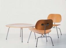现代时尚简约木质桌椅组合3d模型