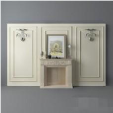 现代时尚简约米色壁炉背景墙3d模型