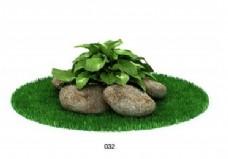 石头绿色植物模型