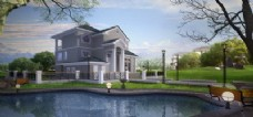 外部模型:独栋别墅与湖景