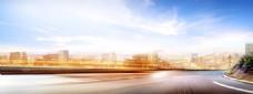 大气城市公路背景