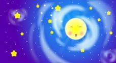 卡通背景夜空月亮星星
