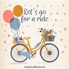 可爱的气球和鲜花自行车