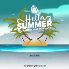 夏季背景与岛屿和棕榈树
