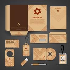 布朗纸商务文具布局模板企业设计集矢量插画