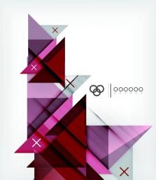 炫彩红色几何背景矢量素材