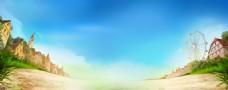 公园摩天轮banner背景素材