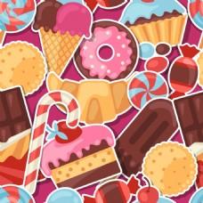 水果糖果可爱卡通甜点矢量图