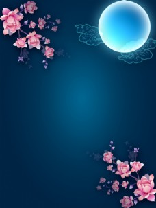 明月花朵夜空背景