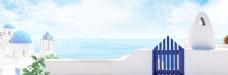 蓝色大海建筑banner背景素材