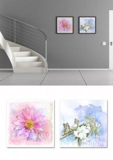 小清新水彩花简约双联玄关楼梯装饰画