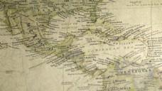 在老式地图上浏览墨西哥