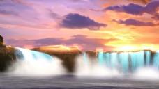 夕阳下梦幻瀑布实拍高清视频素材