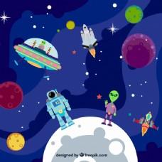 与宇航员和外星行星背景