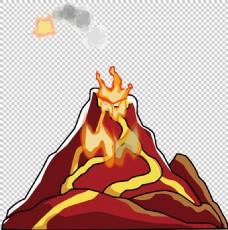 红色手绘火山免抠png透明图层素材