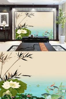 中国风水墨荷花复古电视背景墙