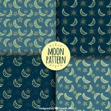观赏月亮和星星的奇妙的图案的包装
