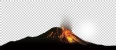 黑色喷岩浆火山免抠png透明图层素材
