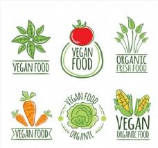 6款创意彩绘素食标签矢量素材