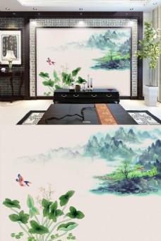 花草清新简约彩色中式山水电视背景墙