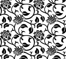 黑白花纹图案背景墙效果图