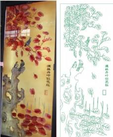红叶假山鸟电视背景墙效果图