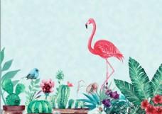 火烈鸟手绘电视墙装饰