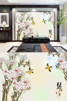 中式花鸟背景