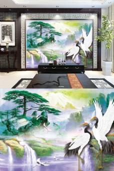 中式仙鹤背景