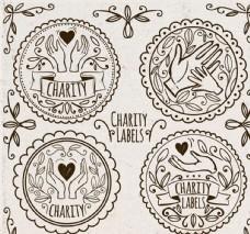 4款手绘慈善捐助标签矢量素材