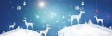 浪漫雪花麋鹿背景
