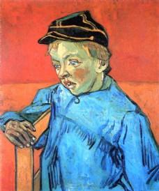 坐在椅子上的孩子油画装饰画素材