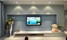 现代简约纯色灰色蚕丝电视背景墙效果图