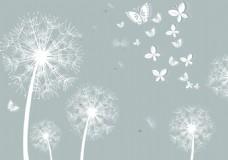 蒲公英蝴蝶简约大气白色背景墙