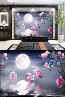唯美中国风圆月背景