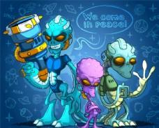三个拿着武器的外星人矢量素材