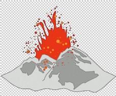 手绘灰色火山免抠png透明图层素材