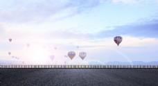 沿海公路蓝天气球淘宝banner背景