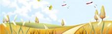 蜻蜓黄色花朵banner背景素材