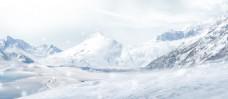 唯美白色山脉banner背景素材