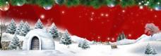 浪漫雪花松树背景