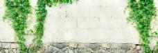 清新绿色植物砖墙淘宝全屏banner背景