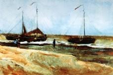 海上漂浮的船只油画风景装饰客厅无框画
