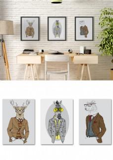 北欧简约绅士动物画书房客厅装饰画