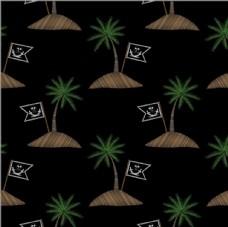 椰子树海盗旗绣花效果矢量图