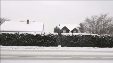 行驶在雪地里的汽车