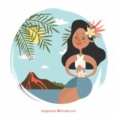 与火山景观中可爱的夏威夷背景